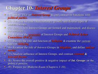 Chapter 10-  Interest Groups