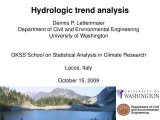 Hydrologic trend analysis