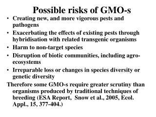Possible risks of GMO-s