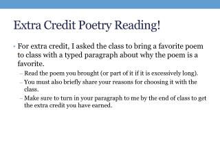 Extra Credit Poetry Reading!
