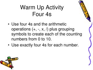Warm Up Activity Four 4s