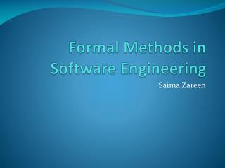 Formal Methods in Software Engineering