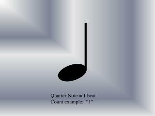 "Quarter Note = 1 beat Count example:  ""1"""