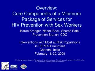 Overview: Core Components of a Minimum Package of Services for HIV Prevention with Sex Workers