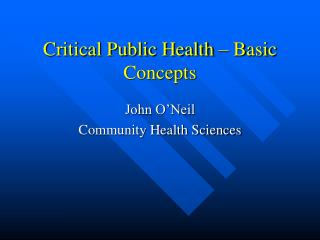 Critical Public Health – Basic Concepts