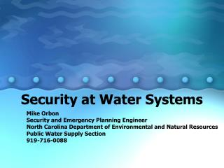 Security at Water Systems