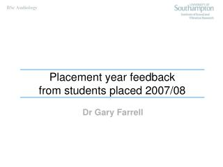 Placement year feedback from students placed 2007/08