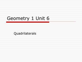 Geometry 1 Unit 6