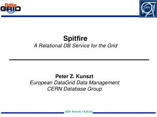 Spitfire A Relational DB Service for the Grid