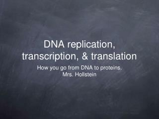 DNA replication, transcription, & translation