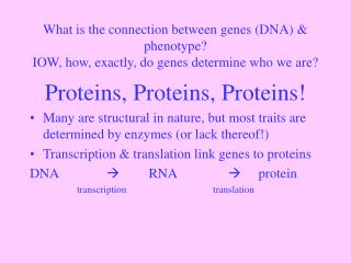 Proteins, Proteins, Proteins!