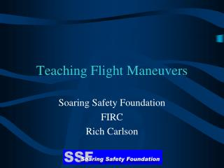 Teaching Flight Maneuvers