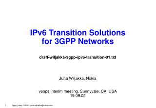 IPv6 Transition Solutions for 3GPP Networks