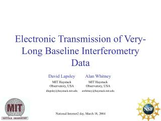 Electronic Transmission of Very-Long Baseline Interferometry Data