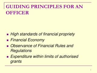 GUIDING PRINCIPLES FOR AN OFFICER