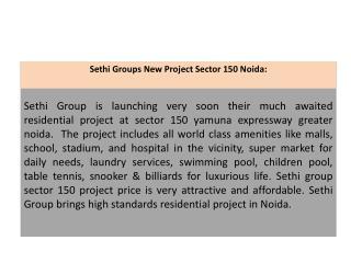 Sethi Group Noida 9899303232 Sethi Developers New Project