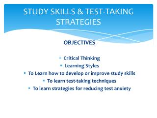 STUDY SKILLS & TEST-TAKING STRATEGIES