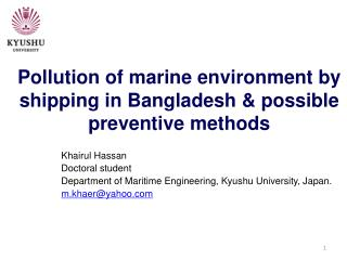 Pollution of marine environment by shipping in Bangladesh & possible preventive methods