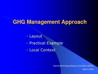 GHG Management Approach
