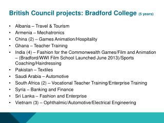British Council projects: Bradford College  (5 years)