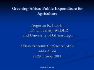 Greening Africa: Public Expenditure for Agriculture