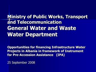 Actually situation in water supply and waste water department