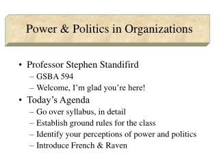 Power & Politics in Organizations