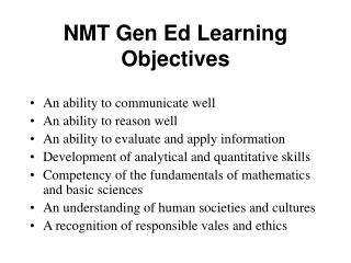 NMT Gen Ed Learning Objectives