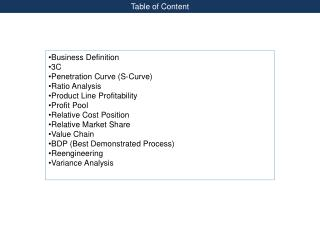 Business Definition 3C Penetration Curve (S-Curve) Ratio Analysis Product Line Profitability
