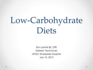 Low-Carbohydrate  Diets