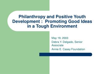 Philanthropy and Positive Youth Development :  Promoting Good Ideas in a Tough Environment