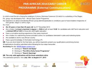PAN AFRICAN 2014 EARLY CAREER PROGRAMME (External Communication)