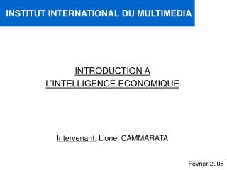INTRODUCTION A L'INTELLIGENCE ECONOMIQUE