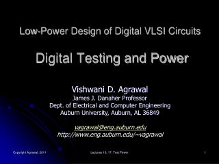 Low-Power Design of Digital VLSI Circuits  Digital Testing and Power