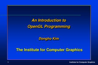 The Institute for Computer Graphics