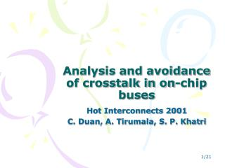 Analysis and avoidance of crosstalk in on-chip buses