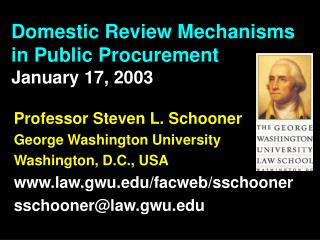 Domestic Review Mechanisms in Public Procurement January 17, 2003