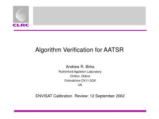 Algorithm Verification for AATSR