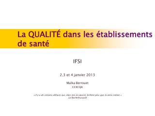 IFSI 2,3 et 4 janvier 2013 Maïka Berrouet   CCECQA