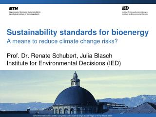 Sustainability standards for bioenergy  A means to reduce climate change risks?