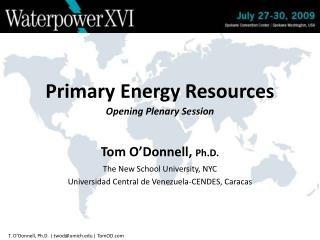 Primary Energy Resources Opening Plenary Session