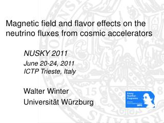 Magnetic field and flavor effects on the neutrino fluxes from cosmic accelerators