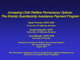Increasing Child Welfare Permanency Options: The Kinship Guardianship Assistance Payment Program