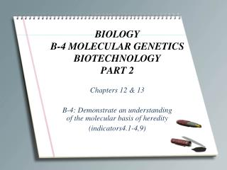 BIOLOGY B-4 MOLECULAR GENETICS BIOTECHNOLOGY PART 2