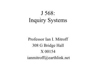 J 568: Inquiry Systems