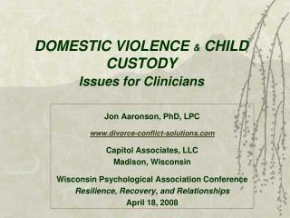 DOMESTIC VIOLENCE  &  CHILD CUSTODY Issues for Clinicians
