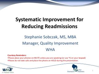 Systematic Improvement for Reducing Readmissions