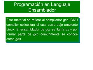 Programación en Lenguaje Ensamblador