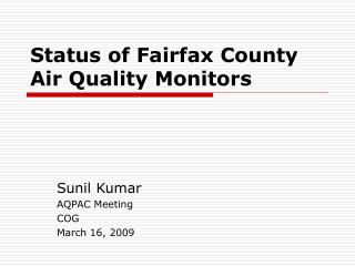 Status of Fairfax County Air Quality Monitors