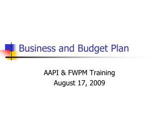 Business and Budget Plan